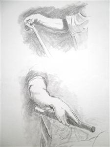 Etudes de mains au Louvre