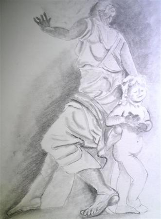 Sculpture du Louvre avec enfant