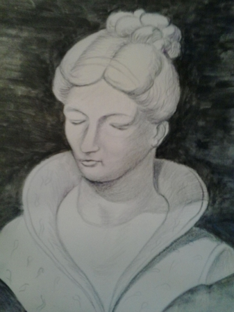 Femme au manteau brodé
